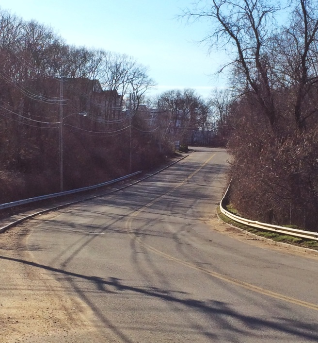 """Our own little """"heartbreak hill,"""" about half a mile from home."""